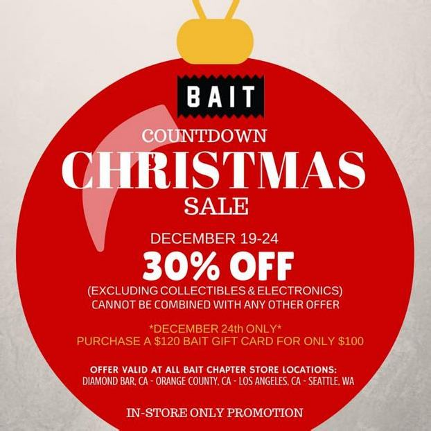 BAIT IN-STORE COUNTDOWN TO CHRISTMAS SALE – 30% OFF
