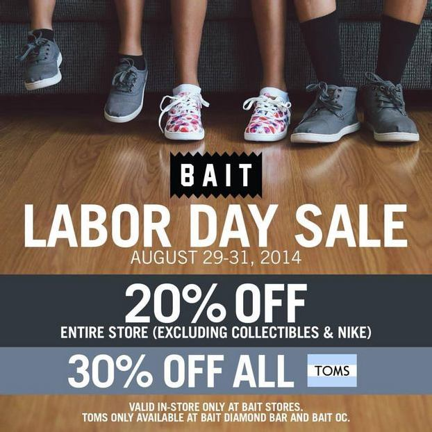 BAIT LABOR DAY SALE – IN-STORE 8/29 – 9/1